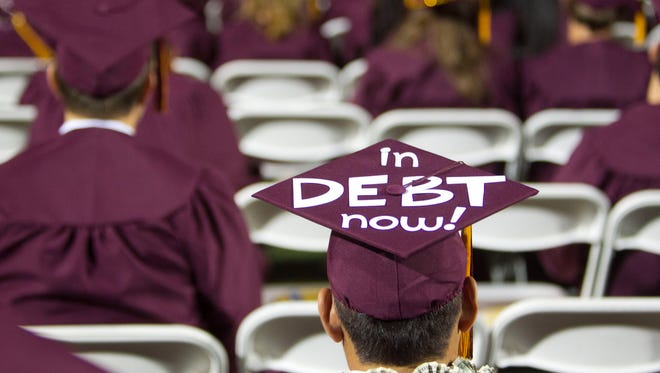 A message on a graduation cap during ASU's 2011 graduation ceremony at Sun Devill Stadium.