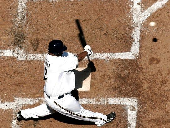 Milwaukee Brewers  CC Sabathia hits a home run in the