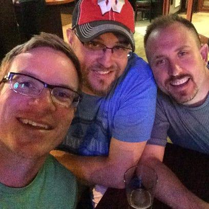 From left, longtime friends Eric Wetzel, Dan Rennie
