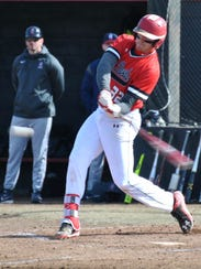 Former Mountain Home Bomber Sky-Lar Culver swings at a pitch during action earlier this season at Allen Community College in Iola, Kan.