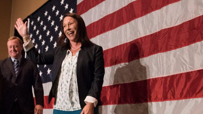 U.S. Rep. Martha Roby, R-Montgomery, waves to supporters at her watch party after winning the primary run off election Tuesday, July 17, 2018, in Montgomery, Ala.