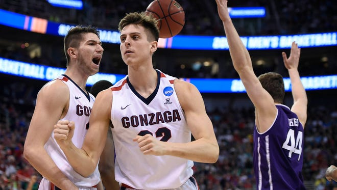 Gonzaga's Zach Collins reacts after he is fouled by Northwestern's Gavin Skelly during their first-round NCAA tournament game.