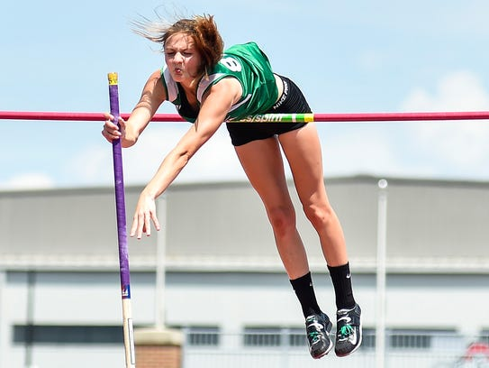 Margaretta's Kassidie Stimmel earned a state crown in the pole vault.