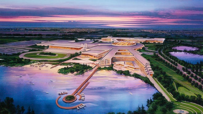 This artist's rendering provided by the Menominee Nation shows the tribe's proposed casino at the site of the former Dairyland Greyhound Dog Track in Kenosha. Gov. Scott Walker has delayed a decision on whether to approve the off-reservation casino until well after the November election.