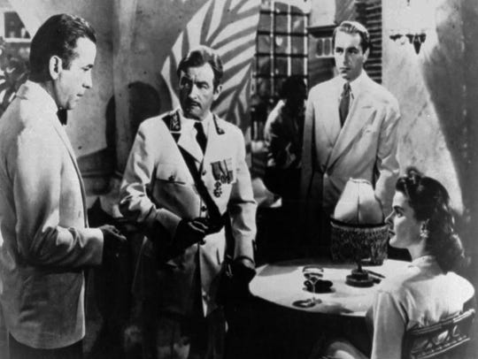 A scene from Casablanca with Ingrid Bergman, lower