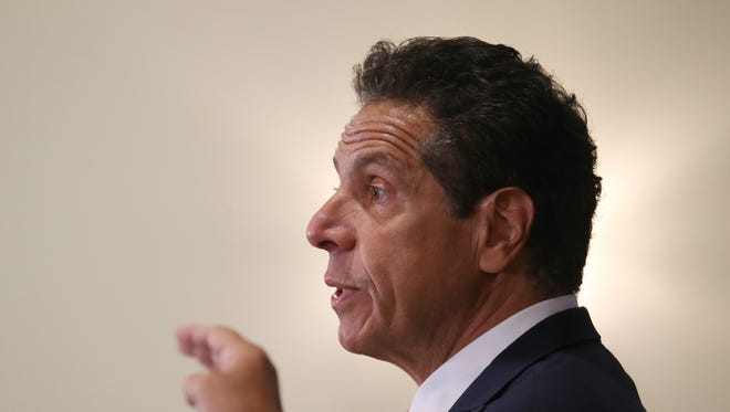 Governor Andrew Cuomo speaks at the Poughkeepsie Tennis Club on July 11, 2018.