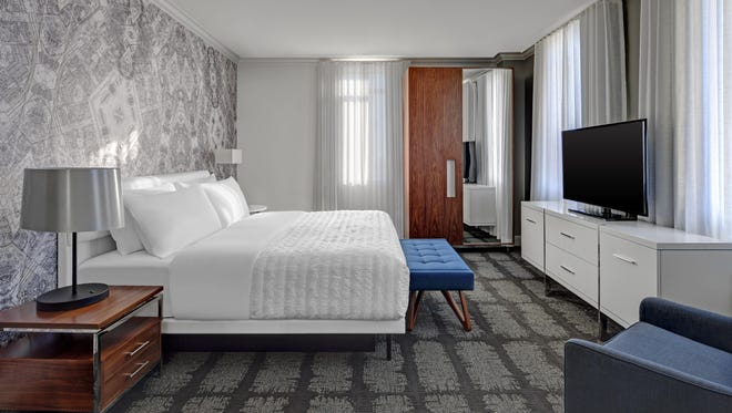 For those who like a little more room, this is the king suite parlor bedroom. The new hotel opens Downtown in December.