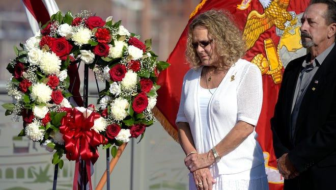 Gold Star family Brenda and Wayne Gearheart of Franklin, Tenn. where honored  during a wreath laying ceremony on John Seigenthaler Pedestrian Bridge in Nashville on Thursday, Sept. 8, 2016.  Gearheart's son Lance Cpl. Ben Gearheart was killed during a training maneuver at Camp Pendleton, CA on August 27, 1997.