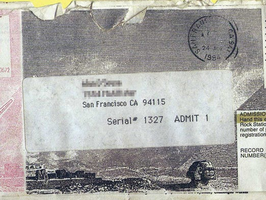 Burning Man ticket from 1994.