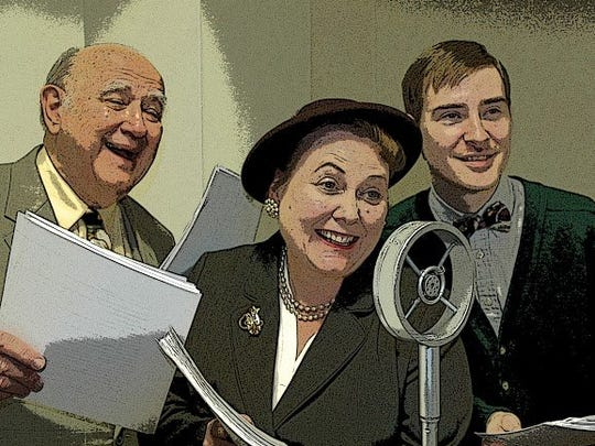 "Arthur J. Beer, Heather Hill-Vasquez and Greg Ettleman in ""It's a Wonderful Life: A Live Radio Play"" at UD Mercy."