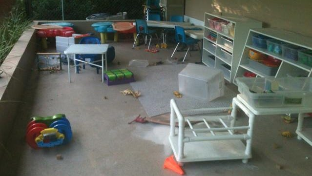Vandals damaged parts of The Leanring Tree preschool on Monday evening.