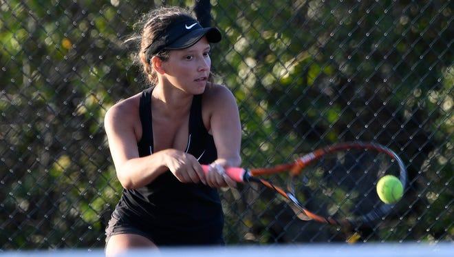 Izzy Diaz of Viera teamed with Sasha Belaya to win 3A state doubles on Tuesday. Shown here in a match earlier this season.