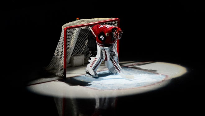 Coyotes goaltender Darcy Kuemper looks on prior to a game against the Predators on March 15.