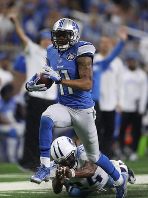 Detroit Lions receiver Marvin Jones Jr. runs for a first down against the Tennessee Titans during the home opener Sunday, Sept. 18, 2016 at Ford Field in Detroit.