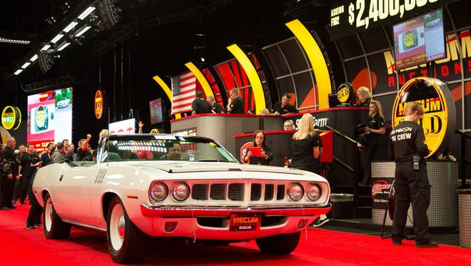 This 1971 Plymouth Hemi Barricuba convertible dold during a Mecum auction in 2016 for $2.3 million