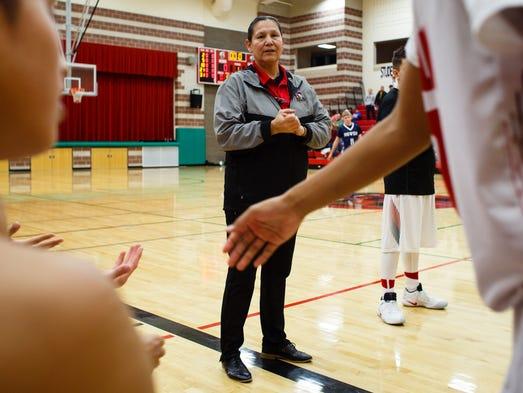 Meskwaki boys' basketball coach Dina Keahna is the