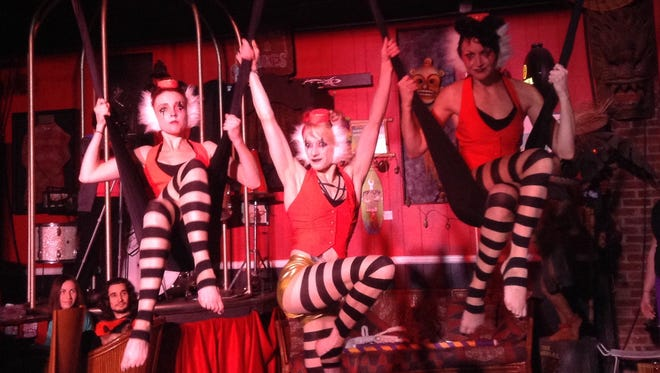 The artistic aerialist troupe Vertical Fixation features (from left) Tricia Boyce, Melissa Granski and Amanda Zeiher. They are pictured Oct. 16 at Roxy & Dukes in Dunellen, where they'll return June 16 for Makin Waves Rock Circus III.