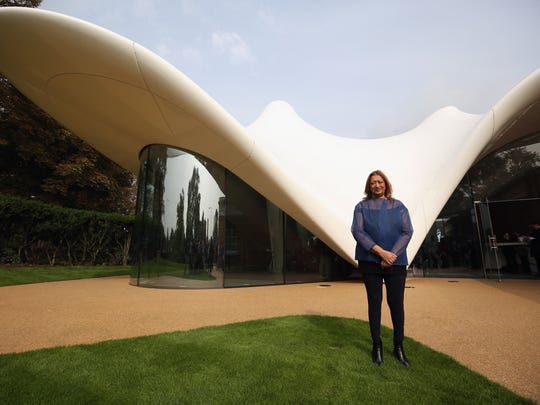 Zaha Hadid designed the Serpentine Sackler Gallery in Hyde Park on September 25 2013 in London.