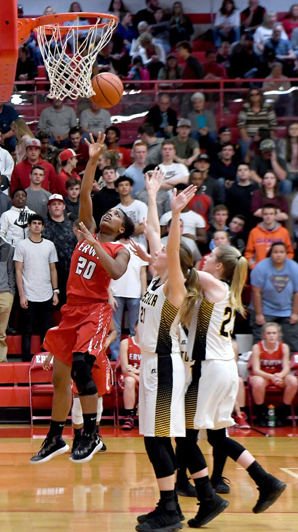 Erwin's Amber Redmond goes up for a shot against Tuscola