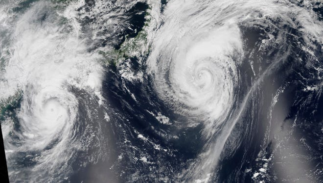 Typhoons in the Pacific in August 2015.