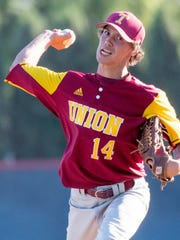 Tulare Union's Jaron Pimentel pitches against Tulare Western in an East Yosemite League high school baseball game on Wednesday, May 9, 2018.