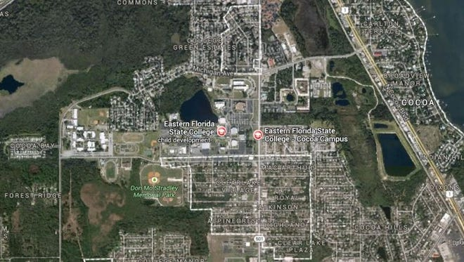 The Irene H. Burnett science building on the Cocoa campus of Eastern Florida State College was evacuated this evening because of a suspected natural gas leak.