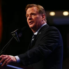 NEW YORK, NY - MAY 08:  NFL Commissioner Roger Goodell speaks during the first round of the 2014 NFL Draft at Radio City Music Hall on May 8, 2014 in New York City.  (Photo by Elsa/Getty Images)