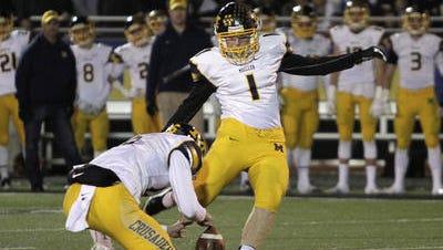 Matt Coghlin hit a 54-yard field goal in the state semifinal against Wayne last season.