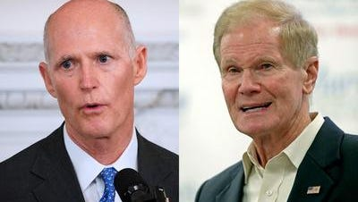 Gov. Rick Scott (left) touted the latest employment numbers for Florida as he takes on U.S. Sen. Bill Nelson, D-Orlando, for the U.S. senate seat.