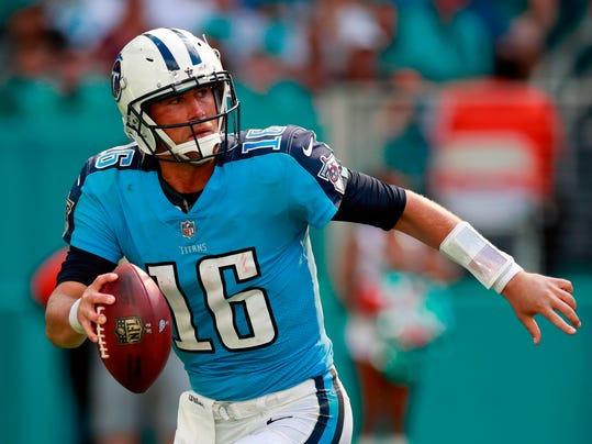 FILE - In this Oct. 8, 2017, file photo, Tennessee Titans quarterback Matt Cassel (16) looks to pass against the Miami Dolphins during an NFL football game in Miami Gardens, Fla. The Detroit Lions have signed quarterback Matt Cassel. Detroit put the free agent on the roster Monday, April 9, 2018, adding depth behind Matthew Stafford. (AP Photo/Jeff Haynes, File)