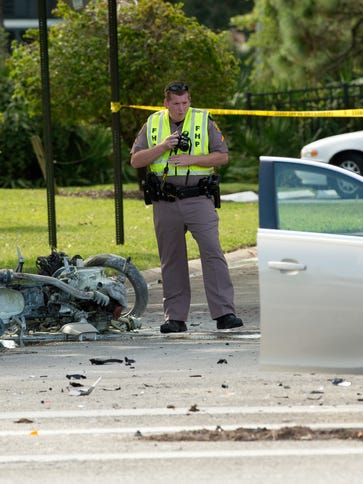 Images from a fatal accident involving a motorcycle