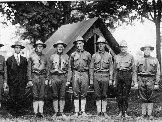Sergeants of Company D during encampment at Fairfield Union Academy in Pleasantville, 1917. Left to right are: Garrett Creed, Clyde Turner, James V. Hampson, Harold Swinehart, Grant Anneshanley, James Smith, Fred Ruffner, Ralph Vorhees, and Irwin Young.