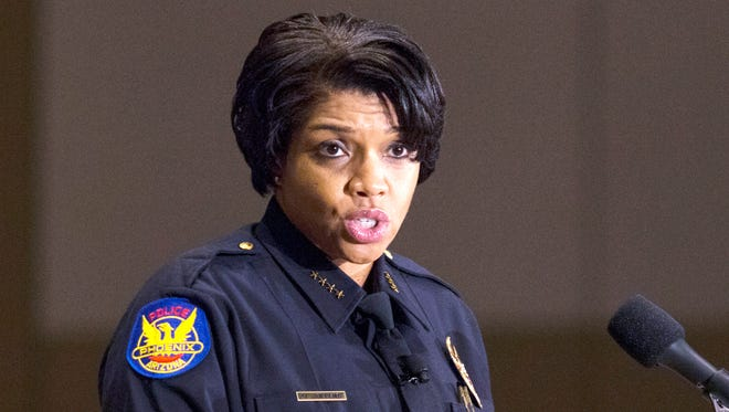 Phoenix Police Chief Jeri Williams speaks during her Swearing in Ceremony, October 28, 2016, at Phoenix Convention Center, 100 N. Third St., Phoenix.