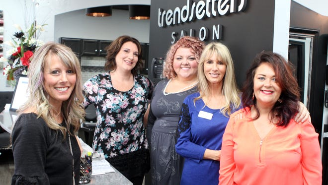 From the left, Kim Williams, Tonya Fuller, Mandi Aldridge, Annette Myers (salon owner), and Teresa Lyon.