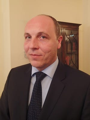 Andriy Parubiy, the first deputy speaker of Ukraine's Verkhovna Rada (parliament) spoke to USA TODAY during a three-day visit to Washington Sept. 24, 2015.