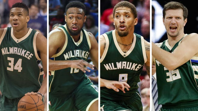 Giannis Antetokounmpo (from left), Jabari Parker, Michael Beasley and Mirza Teletovic can all play power forward for the Bucks.