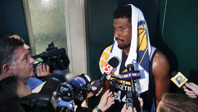 Pacers forward Solomon Hill talks to the media following the players' workout on the first of three days of the Pacers rookie/free agent camp, July 1, 2015 at Bankers Life Fieldhouse.