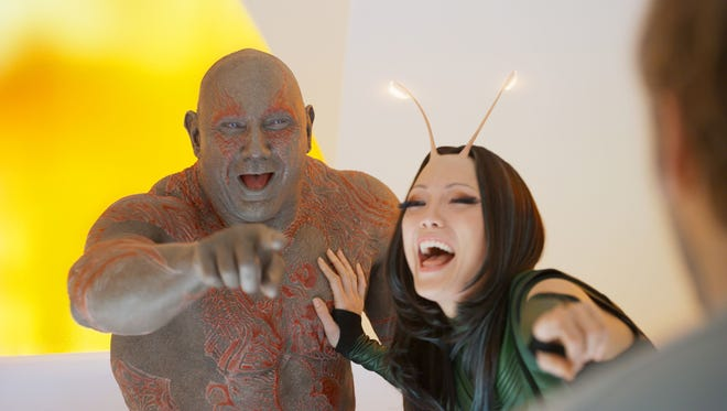 "Drax (Dave Bautista) and Mantis (Pom Klementieff) enjoy a laugh at Peter Quill's expense in ""Guardians of the Galaxy Vol. 2."""
