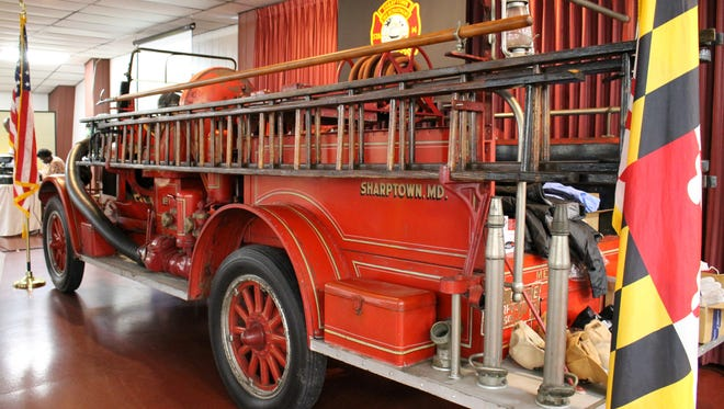 The original Sharptown VFD fire engine sat at the front of the memorial center throughout the 90th anniversary banquet.