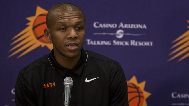 James Jones speaks at a news conference announcing the Suns' acquisition of Trevor Ariza on July 6 at Talking Stick Resort Arena.