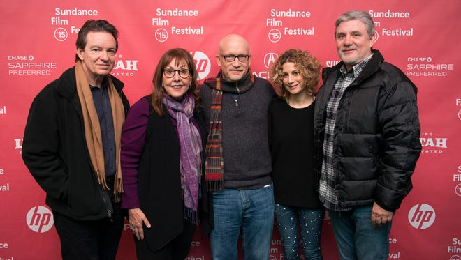"""Author/producer Lawrence Wright,  left, former Scientology church member Spanky Taylor, director Alex Gibney, Sara Bernstein, Senior Vice President of Programming for HBO Documentaries and former Scientology church member Mike Rinder attend the premiere of """"Going Clear: Scientology and the Prison of Belief"""" during the 2015 Sundance Film Festival."""