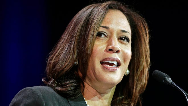California Attorney General Kamala Harris speaks March 8 at the California Democratic State Convention in Los Angeles.