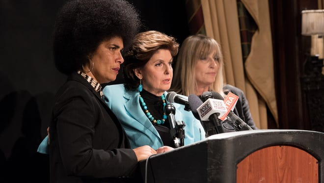 Lawyer Gloria Allred is flanked by actress Lili Bernard, left,  and writer Sammie Mays at a press conference on May 1 in New York.