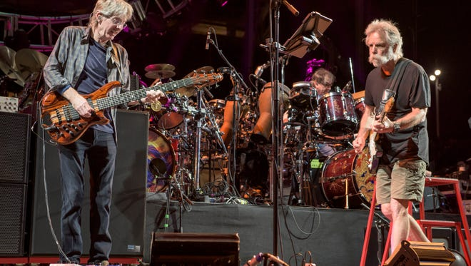 Former Grateful Dead members Phil Lesh, from left, Mickey Hart and Bob perform at Levi's Stadium on June 27 in Santa Clara, Calif. (Photo by Jay Blakesberg/Invision for the Grateful Dead/AP Images)