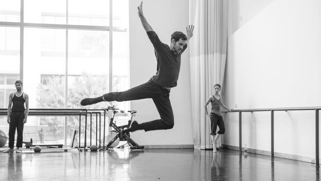 Louisville Ballet company dancer Ryan Stokes  rehearsing a new work that will premiere in Louisville Ballet's Choreographers' Showcase.