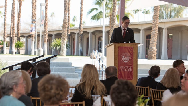 College of the Desert Joel Kinnamon delivers the inaugural State of the College address on Thursday, Jan. 28, 2016.