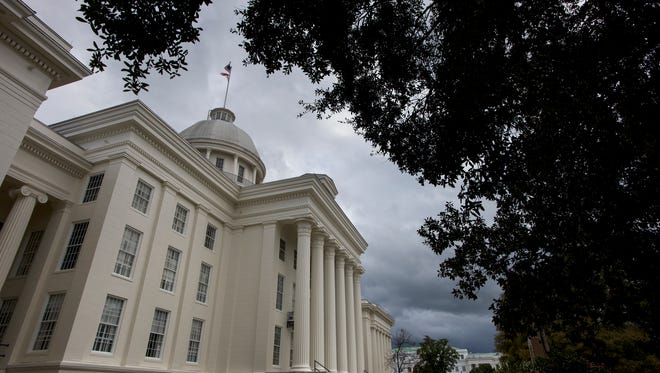 Storm clouds move over the state capitol building in Montgomery, Ala. on Tuesday February 23, 2016.