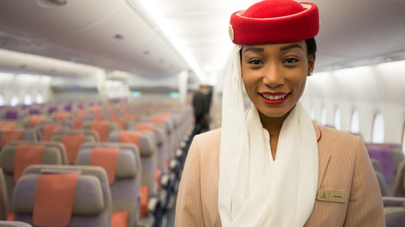 "The economy cabin on Emirates' Airbus A380 ""superjumbo"""