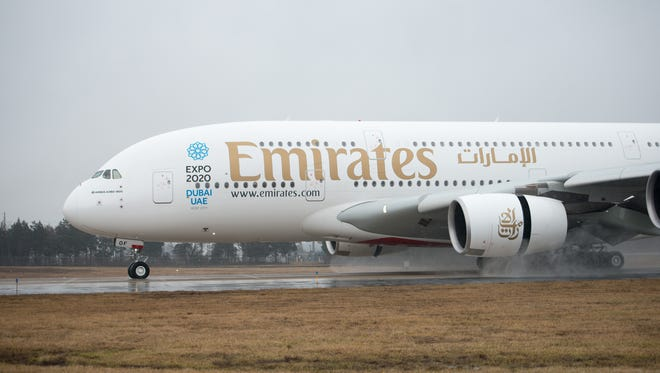 """Emirates' Airbus A380 """"superjumbo"""" is seen after landing at Washington Dulles International Airport on Feb. 23, 2016."""