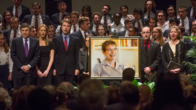 Family, friends, and members of the Cornell University community gathered inside Bailey Hall to honor the memory of University President Elizabeth Garrett on Thursday, March 17, 2016.